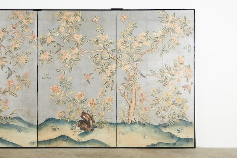 Early 20th Century Gracie Chinoiserie Style Wallpaper Panel Screen For Sale 2