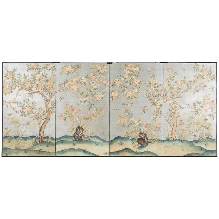 Early 20th Century Gracie Chinoiserie Style Wallpaper Panel Screen For Sale