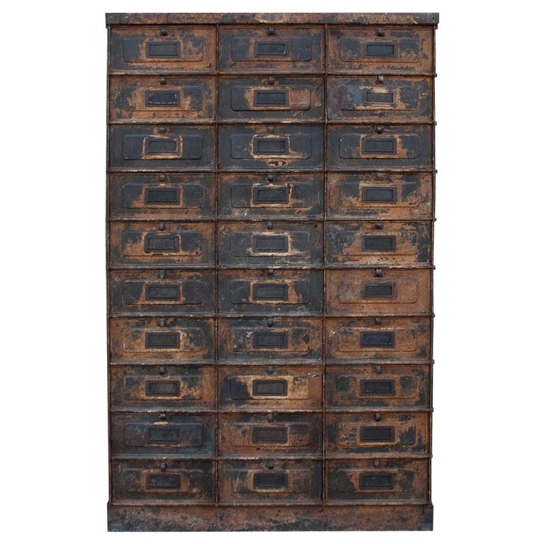 Early 20th Century Grand Strafor Metal Cabinet Case For Sale