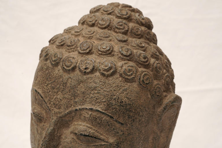 Southeast Asian Early 20th Century Granite Buddha Head, Southeast Asia For Sale