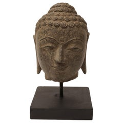 Early 20th Century Granite Buddha Head, Southeast Asia