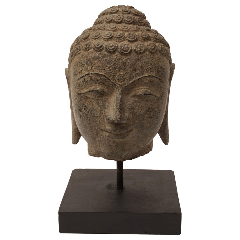 Early 20th Century Granite Buddha Head, Southeast Asia For Sale