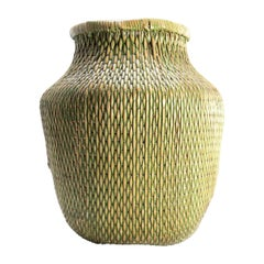 Early 20th Century Green Chinese Fisherman's Basket