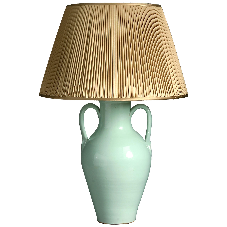 Early 20th Century Green Glazed Ceramic Vase Lamp Base