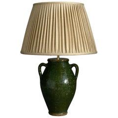 Early 20th Century Green Glazed Pottery Vase Lamp