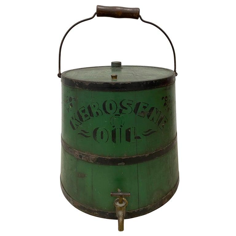 Early 20th Century Green Kerosene Can For Sale
