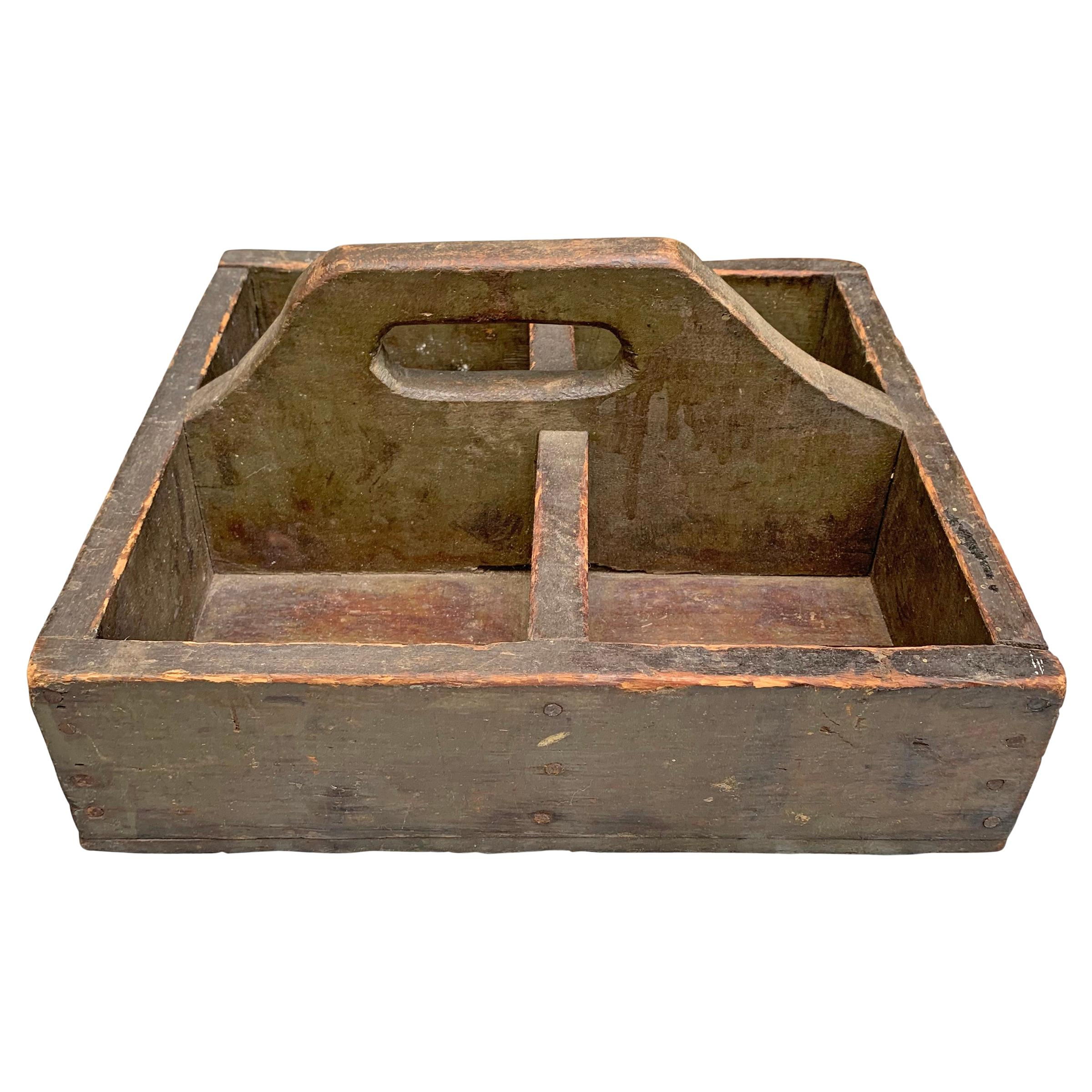 Early 20th Century Green Painted Tool Box