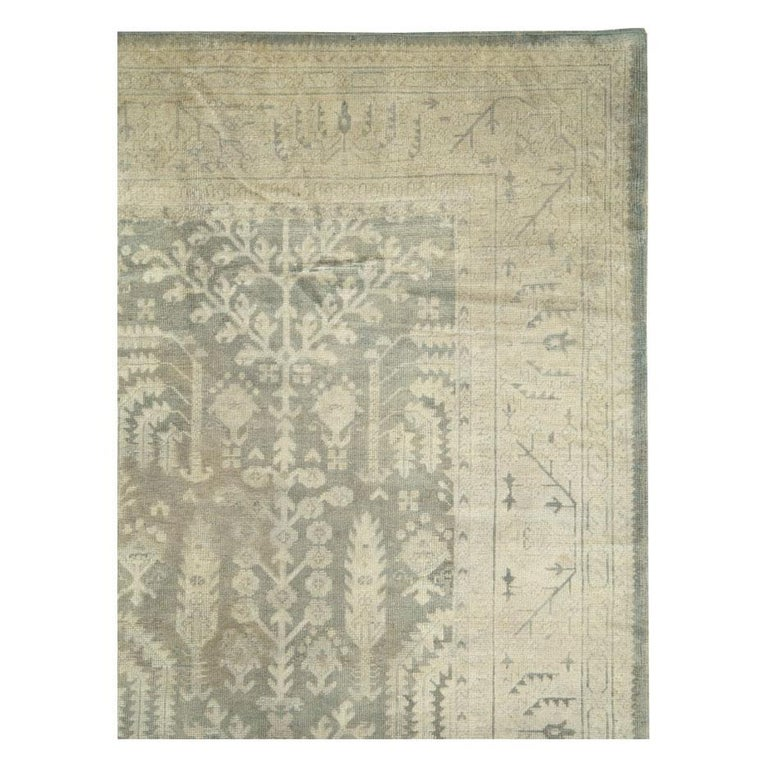 Rustic Early 20th Century Grey, Olive, and Beige Large Room Size Turkish Oushak Carpet For Sale