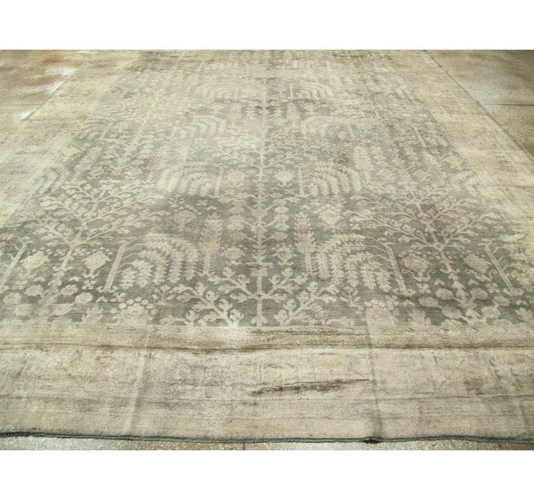 Hand-Knotted Early 20th Century Grey, Olive, and Beige Large Room Size Turkish Oushak Carpet For Sale