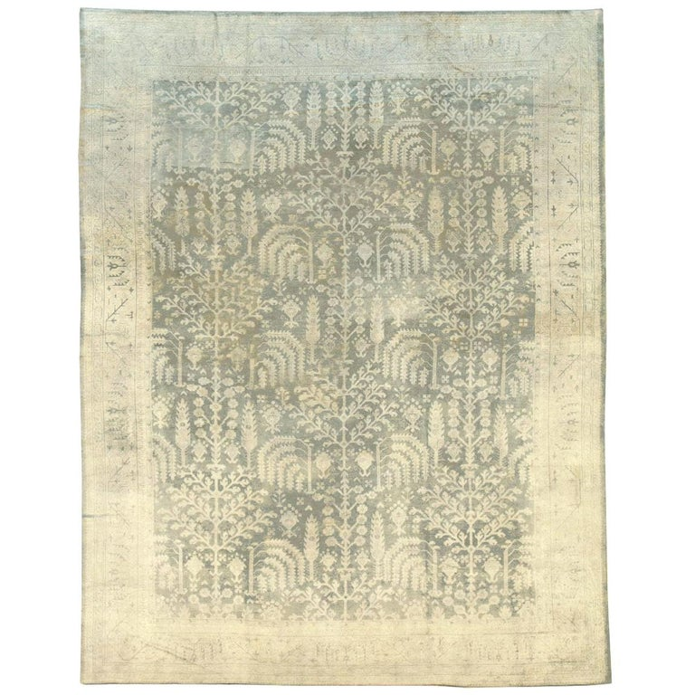 Early 20th Century Grey, Olive, and Beige Large Room Size Turkish Oushak Carpet For Sale