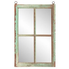 Early 20th Century Gujarat Teak Window Frame Mirror