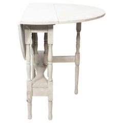 Early 20th Century Gustavian Style Painted Gray Gate Leg Table