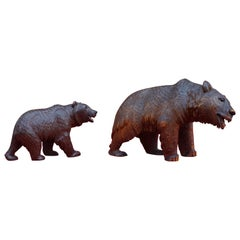 Early 20th Century Hand Carved Black Forest Papa and Junior Bear Sculptures
