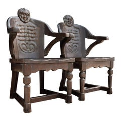 Early 20th Century Hand Carved Oak Anthropomorphism Chairs by J.B Vansciver Co