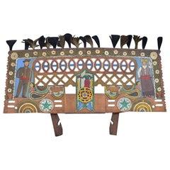 Early 20th Century Hand Carved Oak Folk-Art European Wagon Cart Panel