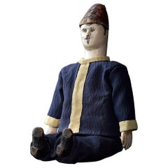 Early 20th Century Hand Carved Pine German Fireman Puppet