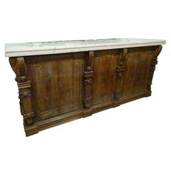Early 20th Century  Large Hand Carved Wooden and marble Top Dry Bar