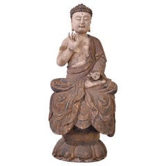 Early 20th Century Hand Carved Wooden Pine Buddha Statue