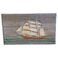 Early 20th Century Hand Hooked Rug of Sailing Ship