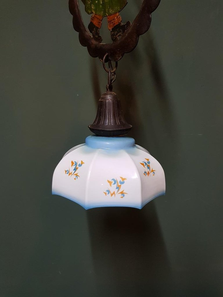 European Early 20th Century Hand Painted Metal and Glass Pendant For Sale
