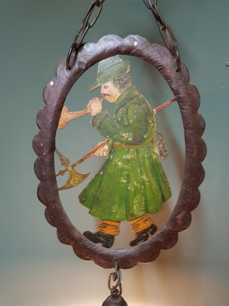 Hand-Painted Early 20th Century Hand Painted Metal and Glass Pendant For Sale