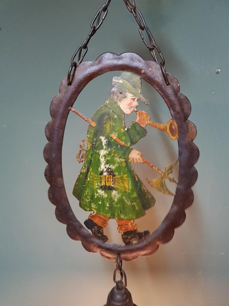 Early 20th Century Hand Painted Metal and Glass Pendant In Good Condition For Sale In Raalte, NL