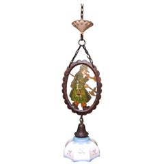 Early 20th Century Hand Painted Metal and Glass Pendant