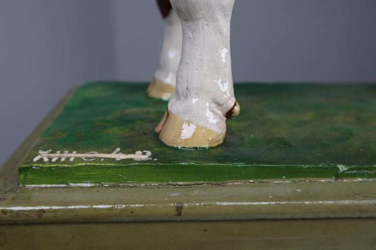 Early 20th Century Hand Painted Plaster Model of a Bull made in Czech Republic For Sale 2