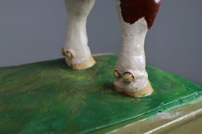 Early 20th Century Hand Painted Plaster Model of a Bull made in Czech Republic For Sale 4