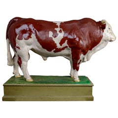 Early 20th Century Hand Painted Plaster Model of a Bull Made in Czech Republic
