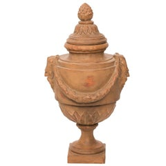 Early 20th Century Hand-Sculpted Terracotta Urn