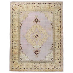 Early 20th Century Handmade Agra Room Size Rug in Pale Purple and Beige