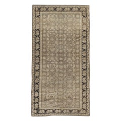 Early 20th Century Handmade Caucasian Gallery Accent Rug in Neutral Brown