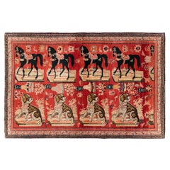 Early 20th Century Handmade Caucasian Horse & Dog Karabagh Pictorial Accent Rug
