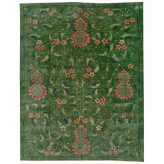 Early 20th Century Handmade Chinese Art Deco Room Size Carpet in Green