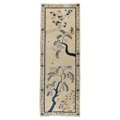 Early 20th Century Handmade Chinese Peking Long Gallery Carpet in Cream & Blue