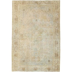 Early 20th Century Handmade Distressed Persian Tabriz Accent Rug