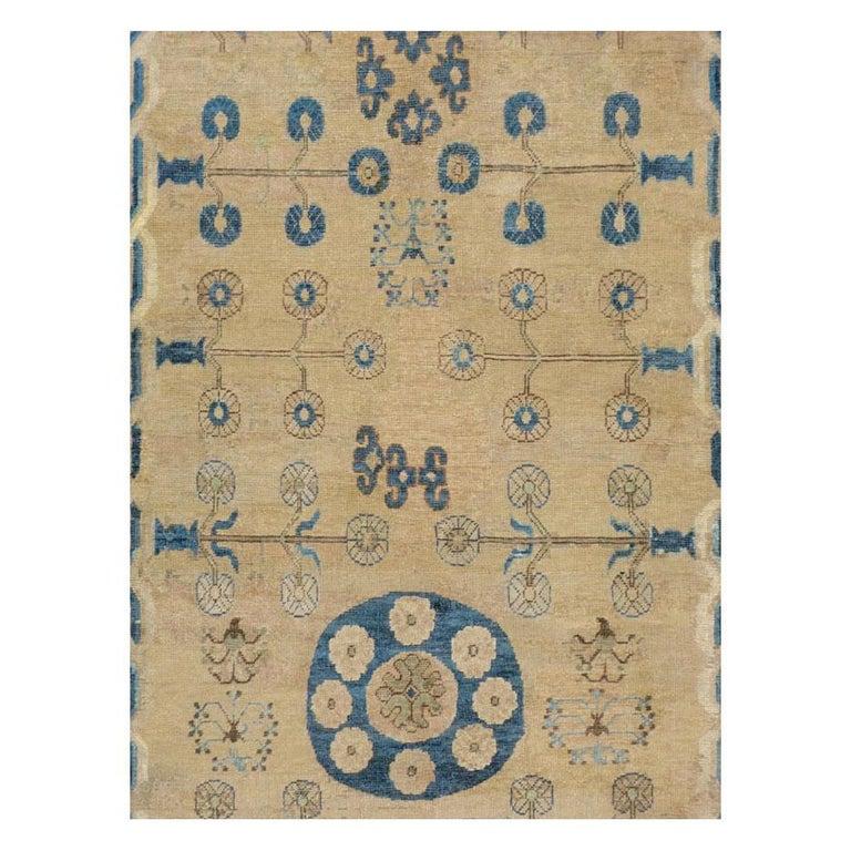 Rustic Early 20th Century Handmade East Turkestan Khotan Gallery Carpet, circa 1900 For Sale