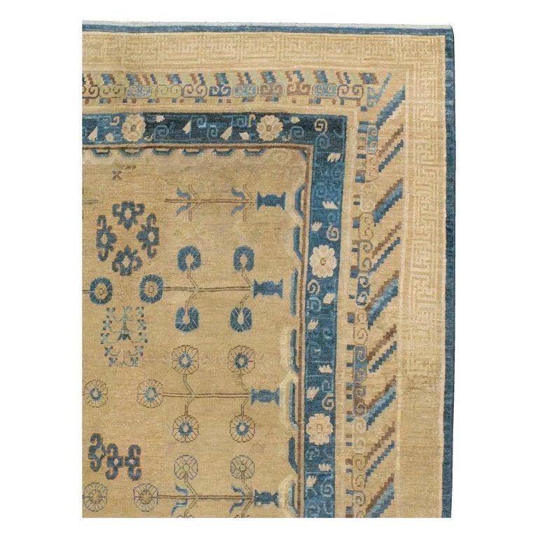 East Turkestani Early 20th Century Handmade East Turkestan Khotan Gallery Carpet, circa 1900 For Sale