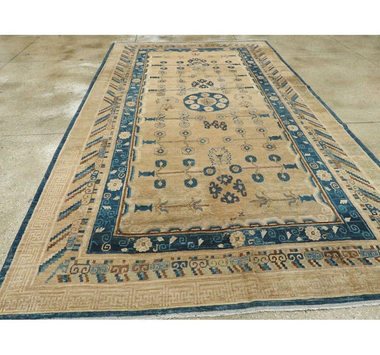Early 20th Century Handmade East Turkestan Khotan Gallery Carpet, circa 1900 In Good Condition For Sale In New York, NY