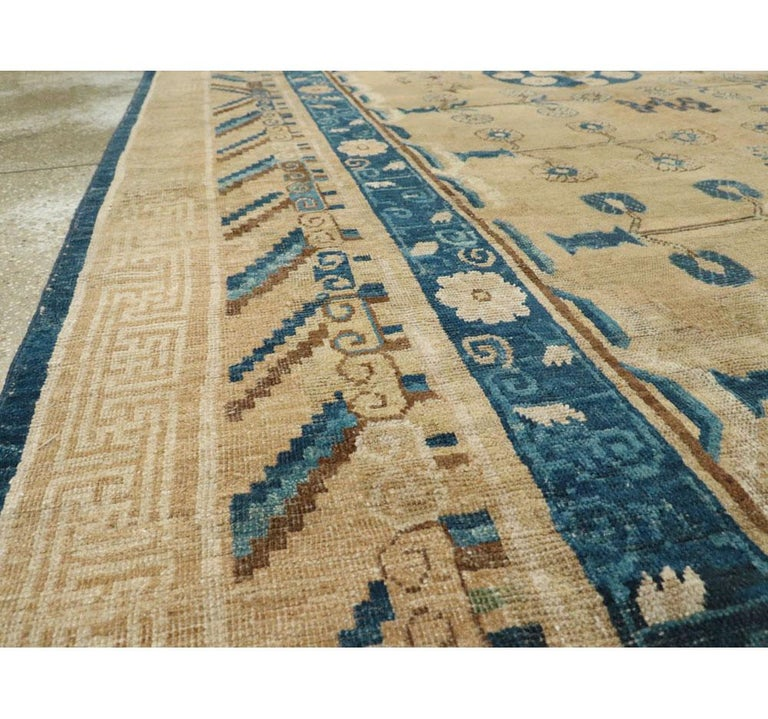 Wool Early 20th Century Handmade East Turkestan Khotan Gallery Carpet, circa 1900 For Sale