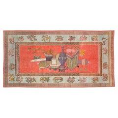 Early 20th Century Handmade East Turkestan Khotan Pictorial Vase Gallery Carpet