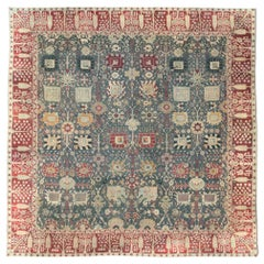 Early 20th Century Handmade Indian Agra Large Square Room Size Carpet