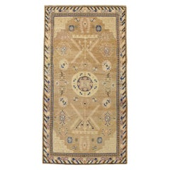Early 20th Century Handmade Khotan 5' x 9' Light Brown Gallery Rug