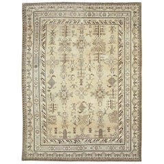 Early 20th Century Handmade Khotan Room Size Rug in Beige and Brown