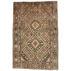 Early 20th Century Handmade Khotan Accent Rug in Brown