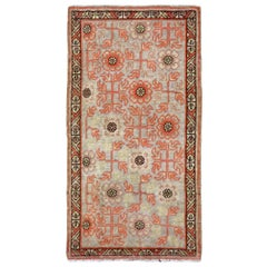 Early 20th Century Handmade Khotan Scatter Rug in Coral and Grey