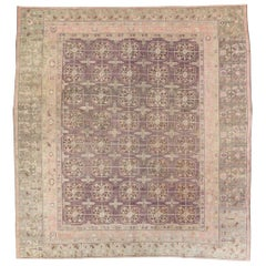 Early 20th Century Handmade Khotan Square Room Size Carpet in Green and Purple