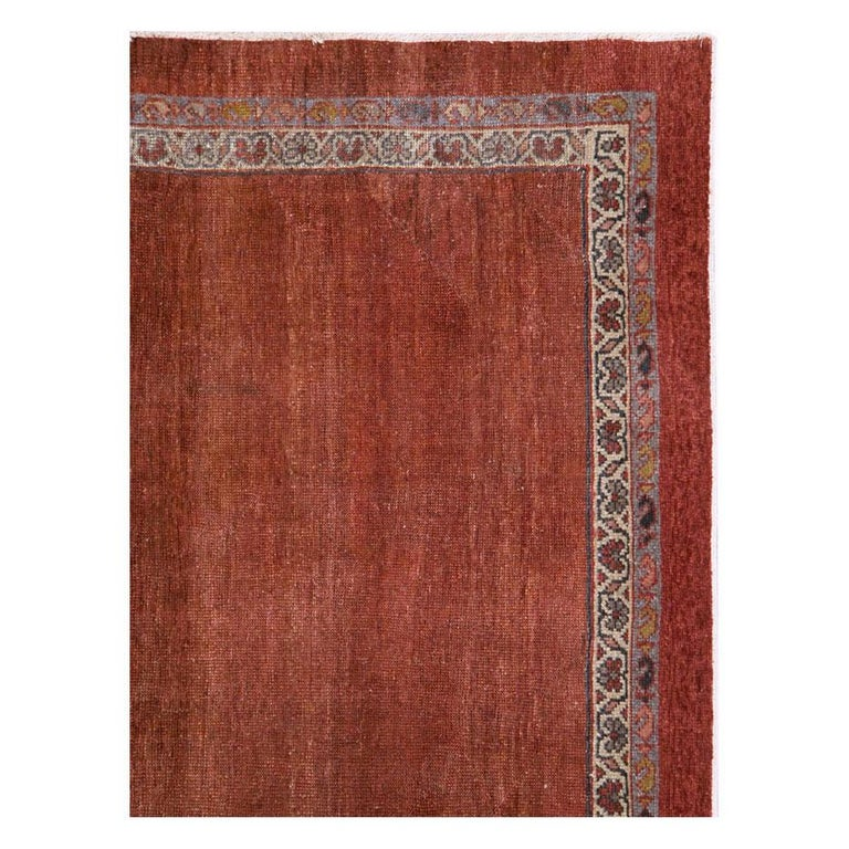 Rustic Early 20th Century Handmade Persian Rust Red Open Field Accent Rug For Sale