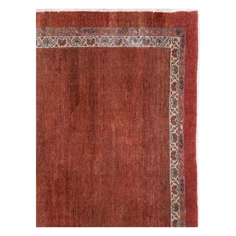 Hand-Knotted Early 20th Century Handmade Persian Rust Red Open Field Accent Rug For Sale